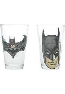 Conjunto Com 2 Copos De Vidro 300Ml Batman - Urban - Preto