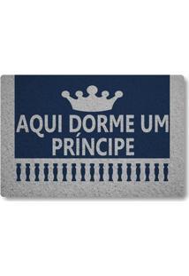 Tapete Capacho Aqui Dorme Um Principe - Azul Marinho