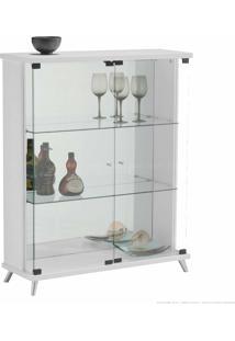 Cristaleira 2 Portas De Vidro Com Espelho E Pés Palito Safira 100% Mdf Branco - Móveis Forini