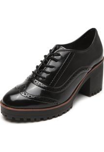 Ankle Boot Flatform Moleca Brogue Preto