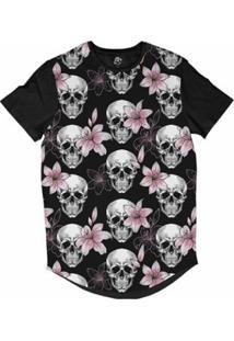 Camiseta Longline Bsc Caveira Rosas E Poa Sublimada Masculina - Masculino-Preto