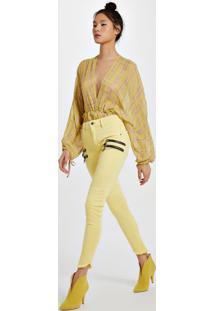 Calça De Sarja Frente Zíperes Slim Amarelo Yoko