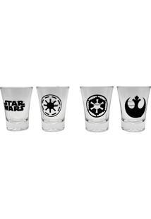 Conjunto De 4 Copos Shot Em Vidro 60 Ml Star Wars
