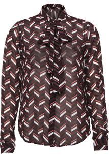 Camisa Michael Kors Chevron Tie Vinho