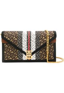 Burberry Small Monogram Stripe Tb Envelope Clutch - Marrom