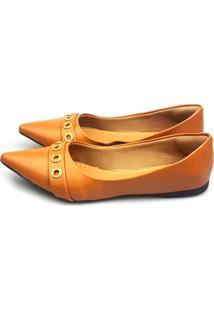 Sapatilha Love Shoes Bico Fino Confort Ilhós Strass Caramelo