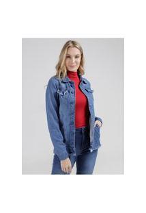 Jaqueta Jeans Oversized Bordada Feminina Azul