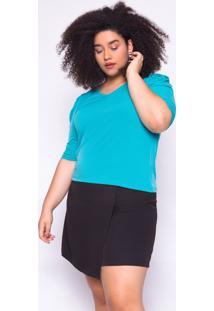 Blusa Almaria Plus Size Ela Linda Básica Azul Turquesa