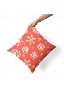 Capa De Almofada Avulsa Decorativa Flocos De Neve Laranja 35X35Cm - Multicolorido - Dafiti