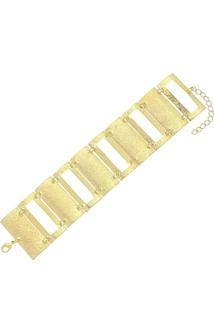 Pulseira Retangular Vazada Fosca 3Rs Semijoias Dourado