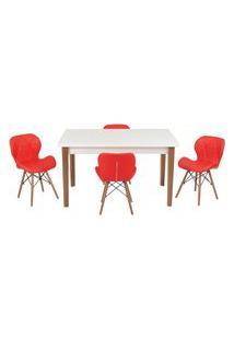 Conjunto Mesa De Jantar Luiza 135Cm Branca Com 4 Cadeiras Slim - Vermelho