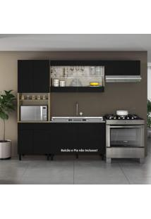 Cozinha 3 Peças Com Paneleiro Itamaxi Itatiaia Castanho/Preto