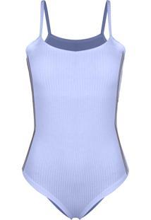 Body Outletdri Canelado Alcinha Detalhe Lateral Colegial Azul Bebê