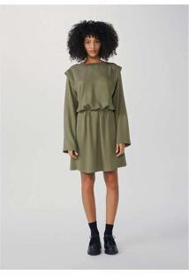Vestido Curto Evasê Em Tecido Plano Sarjado Verde