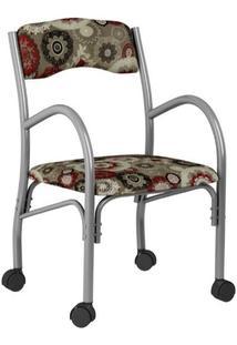 Cadeira Stela 170 Com Rodinhas Floral Vermelho 02 Bona Vita