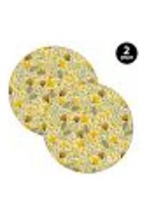 Sousplat Mdecore Floral 35X35Cm Amarelo 2Pçs