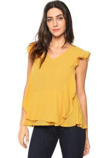 Blusa Lily Fashion Babados Amarela