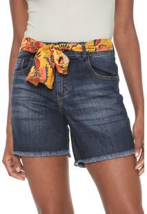 Bermuda Jeans Cantão Reta Stone Azul