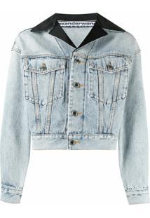 Alexander Wang Jaqueta Jeans Cropped Com Lapelas - Azul