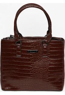 Bolsa Em Textura Croco Com Compartimentos- Marrom Escurosanta Lolla