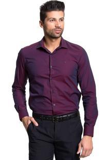 Camisa Tony Menswear Acetinada Slim Vinho
