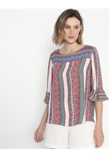 Blusa Abstrata Com Recortes- Rosa Claro & Laranja- Ccotton Colors Extra
