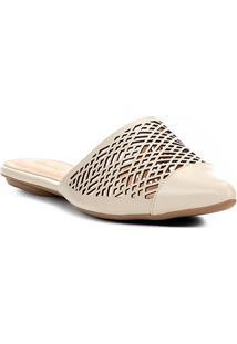 Sapatilha Shoestock Laser Geométrico Feminina - Feminino-Off White