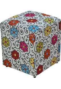 Puff Quadrado Decorativo Tecido Linho Floral Lym Decor Colorido