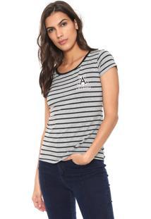 Camiseta Fiveblu Listrada Cinza/Preta