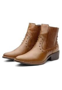 Bota Ankle Boot Couro Venetto Feminina Country Caramelo