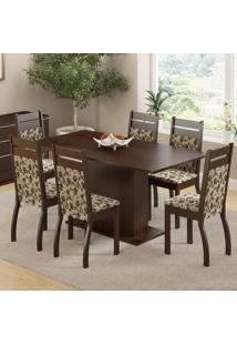 Conjunto Sala De Jantar Mesa E 6 Cadeiras Versalhes Madesa Tabaco/Floral Bege/Marrom
