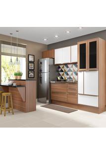 Cozinha Compacta 12 Portas 4 Gavetas 5463R610 Nogueira/Branco - Multimóveis