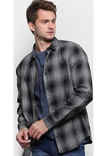 Camisa Reserva Xadrez Zíper Manga Longa Masculina - Masculino-Preto+Cinza