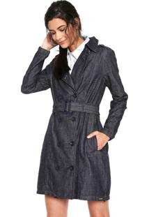 b02add933 ... Casaco Trench Coat Jeans Colcci Comfort Azul