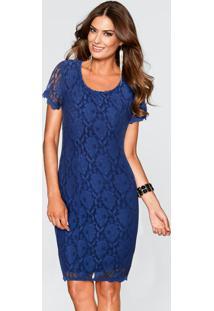 Vestido De Renda Com Pérolas Azul