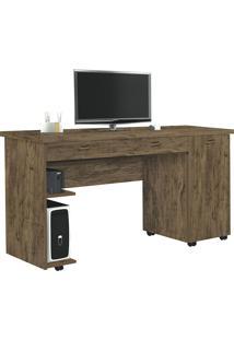 Mesa Para Computador Com 1 Porta E 1 Gaveta Ariel-Móveis Primus - Amêndoa Wood