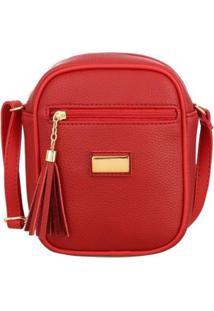 Bolsa Me Visto Média Shoulder Bag Feminina - Feminino-Vermelho