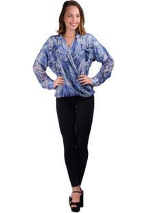 Camisa Banna Hanna Chiffon Com Transpasse Na Frente Do - Feminino-Azul