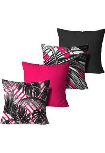 Kit 4 Capas Love Decor Para Almofadas Decorativas Abstrato Split Leaf Multicolorido Rosa