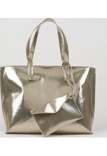 Bolsa De Ombro Feminina Shopper Grande + Bolsa De Mão Dourada
