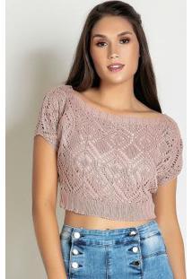 Blusa Cropped De Tricô Rosê Com Forro
