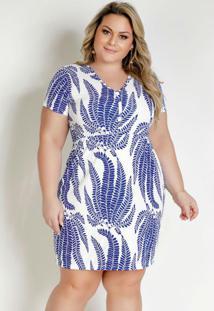 Vestido Curto Folhagem Azul Com Fendas Plus Size