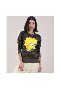 Blusão De Moletom Feminino Lisa Simpson Estampado Camuflado Verde Militar