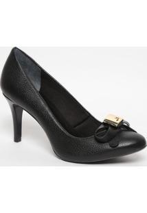 Sapato Em Couro Com Laço - Preto- Salto: 7,5Cmjorge Bischoff