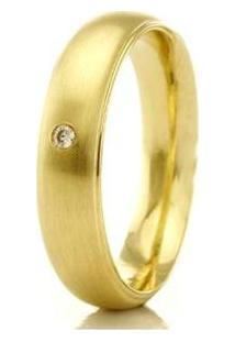 Aliança De Casamento Feminina Em Ouro 18K 750 Wm Joias 4Mm Com Zircônia F2315 - Feminino-Ouro