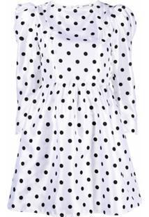 Batsheva Vestido Com Poás E Decote Quadrado - Branco