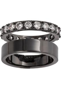 Anel Duplo The Ring Boutique Liso E Cravejado De Zircônias Ródio Negro