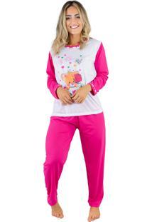 Pijama Longo Bravaa Modas Inverno Frio 010 Pink