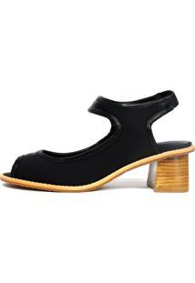 Sandália Bianti Neoprene Com Salto Quadrado Preto