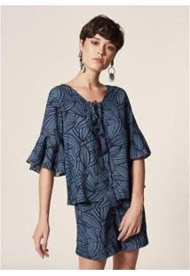 Blusa Gola V Estampa Cocoa Blue Estampado - Feminina - Feminino